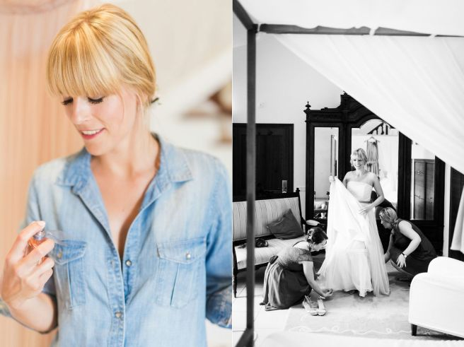 Hochzeitsplanerin heiratet Getting Ready Brautkleid anziehen